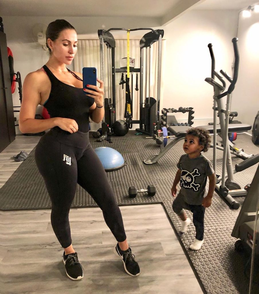 Lilit Avagyan workout with son