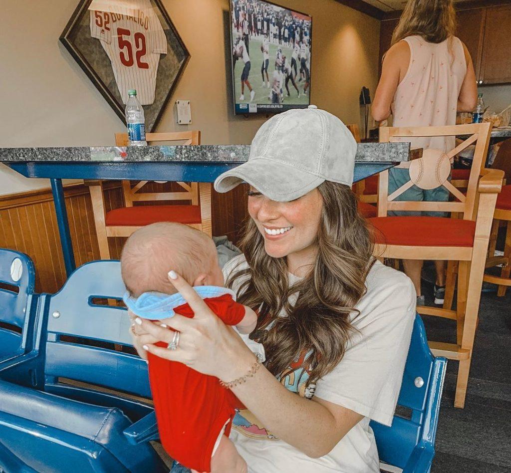 Kayla Varner with her son