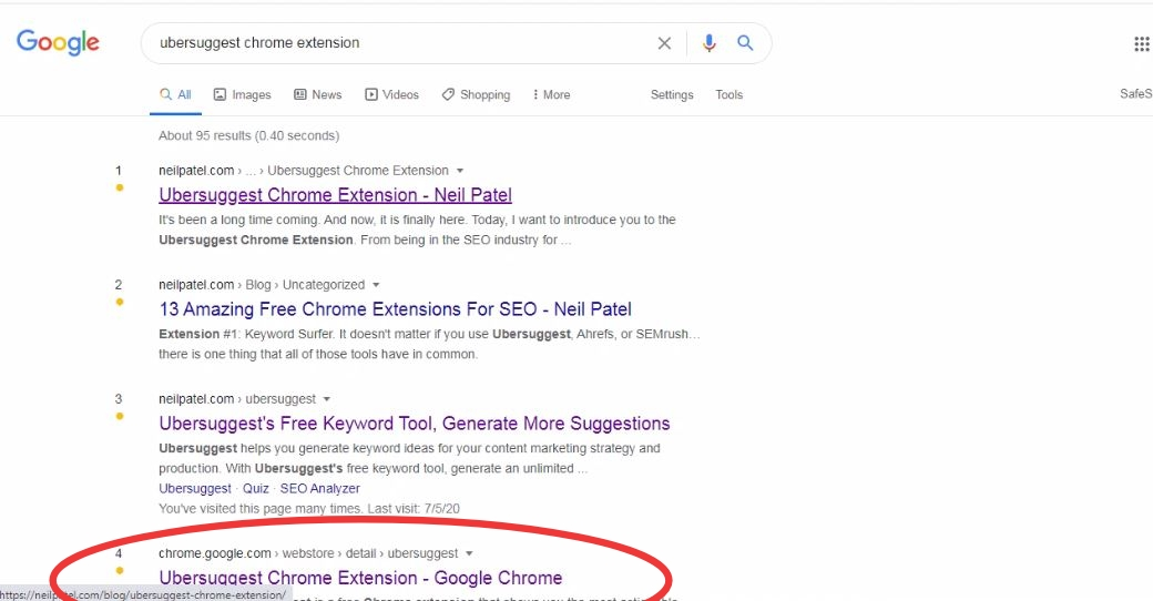 Use Ubersuggest Chrome Extension